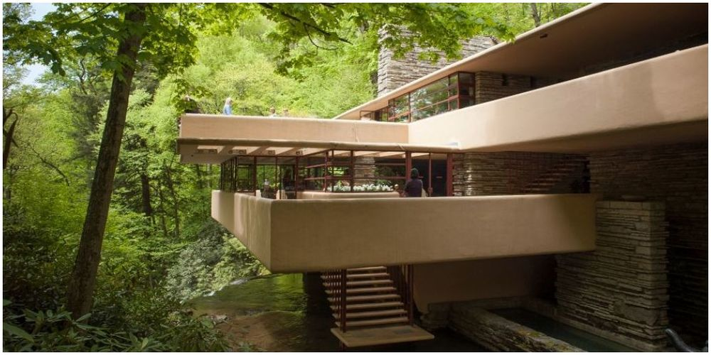 architecture moderniste de la maison waterfalling